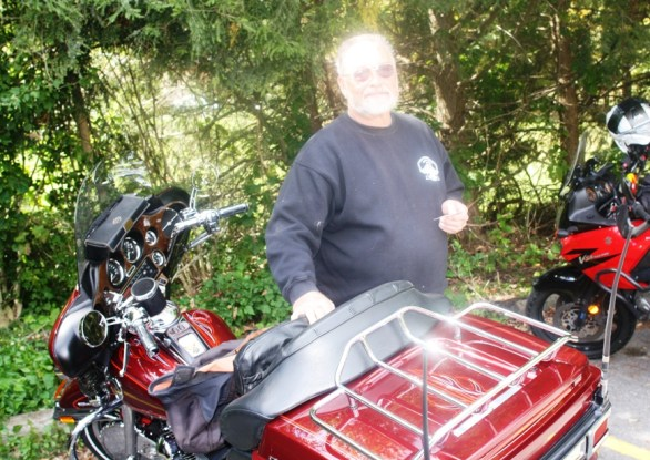 Henry from near Reading, Pa. We met at Forksville General Store 9/25/13. Henry's Harley is gorgeous, friendly guy and a Forksville regular.