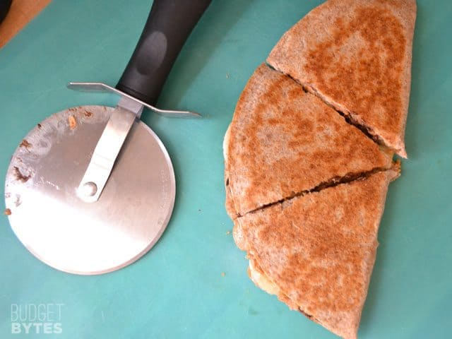 cut quesadilla