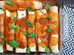 SNAP Challenge: Creamy Chicken and Black Bean Enchiladas