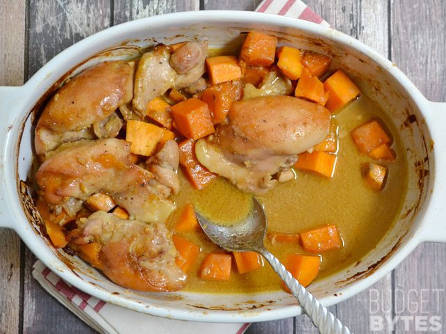 Soy Dijon Chicken Thighs with Sweet Potatoes