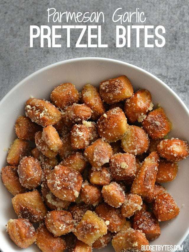 Parmesan Garlic Pretzel Bites - BudgetBytes.com