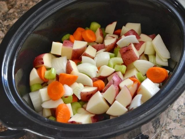 Chopped Vegetables in Slow Cooker