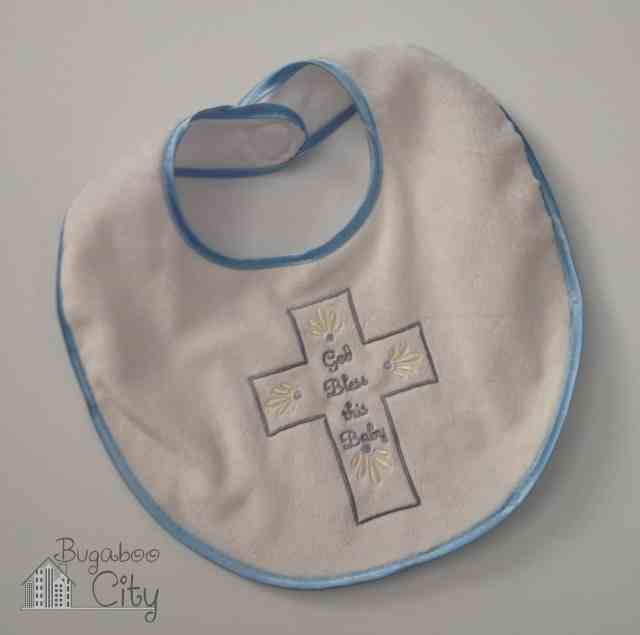 Baptism bib for baby boy