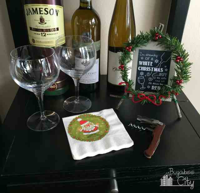 Holiday Easel with Wine saying