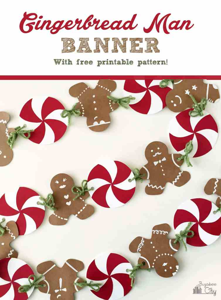Gingerbread man banner with free printable pattern