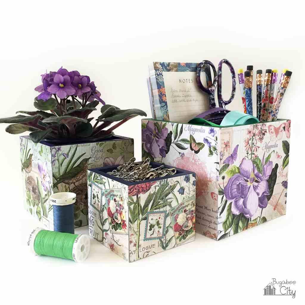DIY Floral Decoupage Boxes