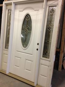 Overstock Feather River Exterior Door W Oval Glass Brass