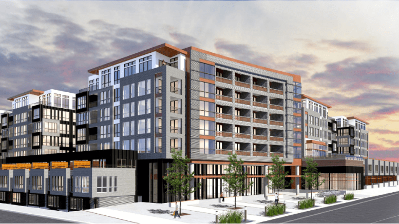 Rendering of the Sugarmont Apartments looking east at the intersection of Sugarmont Drive and McClelland Street.  Image courtesy Salt Lake City planning documents.