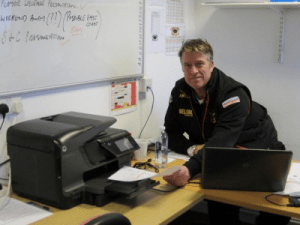 Academy chief John Bastian with new printer, provided by BullBuilder.