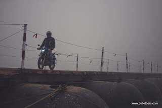 The barrel bridge on the river Chambal, near Pinahat is quite a sight