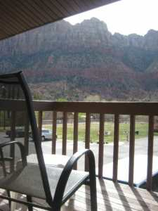 Each room has a  private patio or balcony with beautiful views of the Zion mountains.