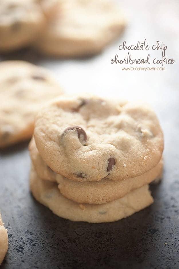 4 Ingredient Chocolate Chip Shortbread Cookies!