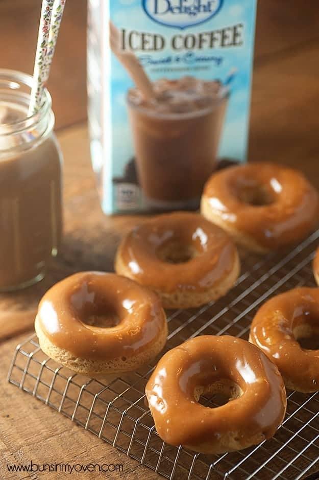 Peanut Butter Glazed Baked Mocha Donuts