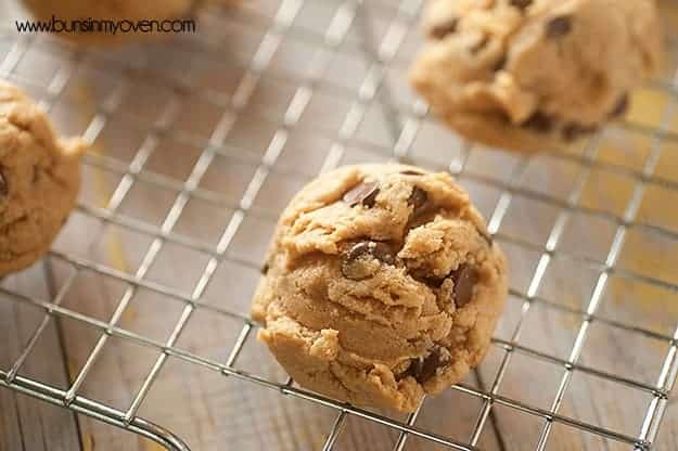 Chewy almond butter cookies with chocolate chips!