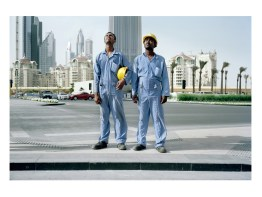 Babul and Ibrahim, from Bangladesh, working on a tower construction in Dubai, they participated in demonstration against working conditions. Dubai.