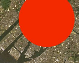 (Hiroshima, maximum radius and damages)