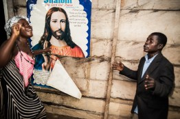 Ghana, Kumasi region, believers sing and pray in tounges during celebration called 'War Night' held on Atwea mountain
