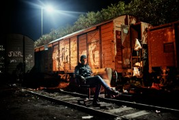 2012.Corinth. Greece. Ali from Algeria lives in the old train station of Corinth. In Corinth, a small sea town on the Peloponnese, the boarding of boats directly is attempted, at least by group of North Africans who have established themselves in an old train station
