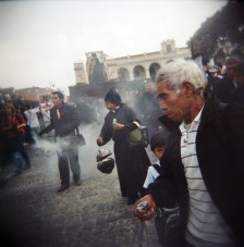 Men hold incense before a procession during Holy Week, or Semana Santa, in Antigua, Guatemala.