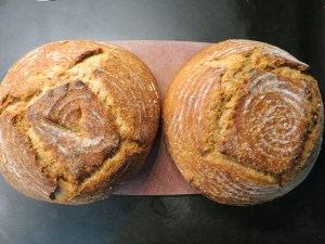 Two half-size miche loaves