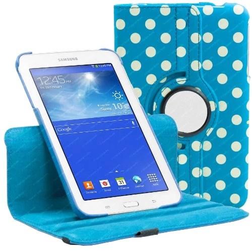 Housse Bleu Clair et Blanc à Pois pour Samsung Galaxy Tab 3 7.0 LITE ( T110 / T111 ) avec mécanisme de 360 degrés et vec Gratuit Protecteur d'écran et Stylus Stylo Bille – Stuff4®