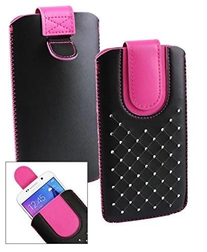 Emartbuy® Noir / Hot Rose Gem Clouté Étui Coque Case Cover en cuir PU ( Taille LM4 ) avec Languette Push Up Adapté Pour Xgody D10 5.5 Pouce Smartphone