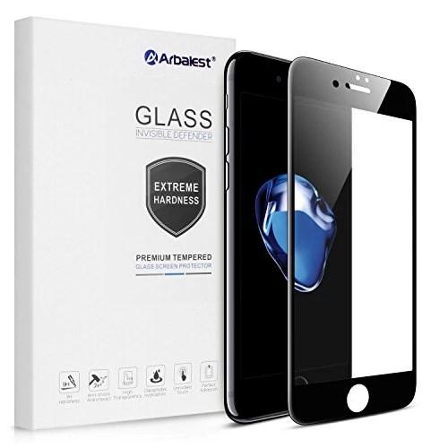 Protection écran iPhone 7, Arbalest® Full Tempered Glass Coverage iPhone7 (4,7) Verre trempé Film Protecteur Transparent Anti-rayures sans Bulles Haute Définition, Noir