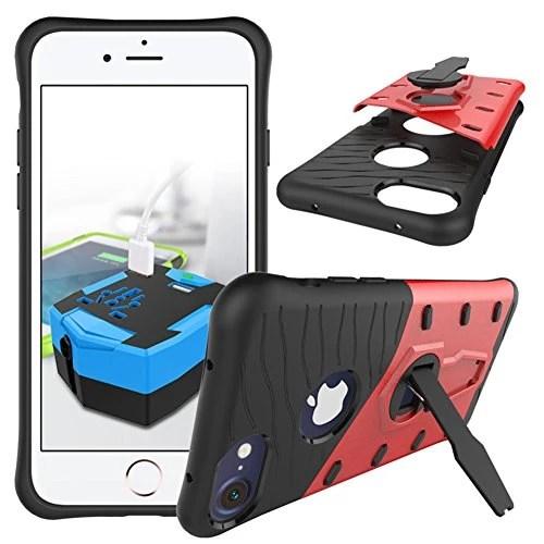 Coque iPhone7 case Dans Gel de silice Anti-chute de choc Housse de protection TPU + PC Tourner le revêtement extérieur du support pour iPhone7 (Rouge)