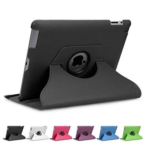 doupi ® 360 ° Deluxe PU cuir Étui (noir) pour Apple iPad 2 3 4 rotatif Cover et Case de protection à 360 degrés Case simili cuir protection cas noir