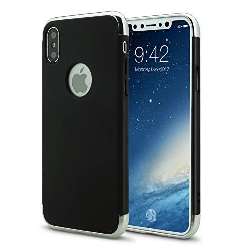 iPhone X Coque Étui Hybrid en Polycarbonate 3 en 1 Ultra Mince Antichoc ÉTUI HOUSSE Protecteur(iphoneX 5.8,noir)