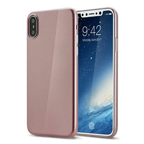 Coque iphone X cover 0.3mm Ultra Slim Fin Ultra Mince et Ultra Léger Semi Rigide Bumper en Gel Silicone Housse de Protection Coque Pour iphoneX brillante or rose