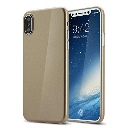 Coque iphone X cover 0.3mm Ultra Slim Fin Ultra Mince et Ultra Léger Semi Rigide Bumper en Gel Silicone Housse de Protection Coque Pour iphoneX brillante or