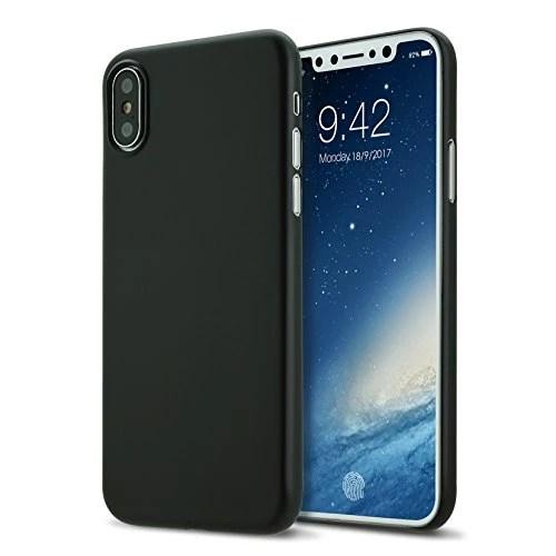 Coque iphone X cover 0.3mm Ultra Slim Fin Ultra Mince et Ultra Léger Semi Rigide Bumper en Gel Silicone Housse de Protection Coque Pour iphoneX noir