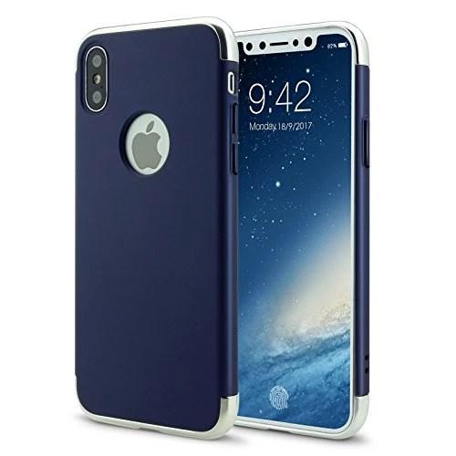 iPhone X Coque Étui Hybrid en Polycarbonate 3 en 1 Ultra Mince Antichoc ÉTUI HOUSSE Protecteur(iphoneX 5.8,bleu)