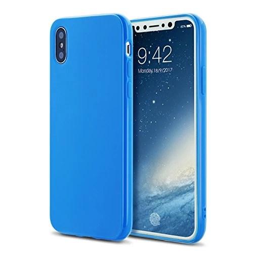 Coque iphoneX case cover Etuis en Gel Silicone et TPU Coussin d'air [Anti-rayures] Premium Flexible et Souple pour iphoneX(2017)bleu