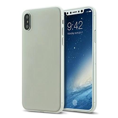 Coque iphone X cover 0.3mm Ultra Slim Fin Ultra Mince et Ultra Léger Semi Rigide Bumper en Gel Silicone Housse de Protection Coque Pour iphoneX blanc