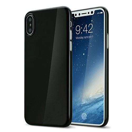 Coque iphone X cover 0.3mm Ultra Slim Fin Ultra Mince et Ultra Léger Semi Rigide Bumper en Gel Silicone Housse de Protection Coque Pour iphoneX Noir de jais