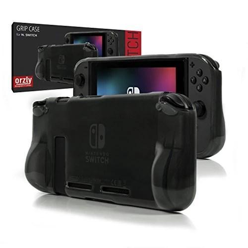 """Coque Orzly Comfort Grip Case pour Nintendo Switch – Coque de protection pour l'arrière de la console Switch en mode """"GamePad"""" avec poignées rembourrées intégrées pour plus de confort – SMOKEY SLATE"""