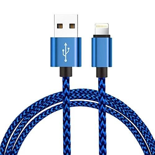 H quadratic Câble Lightning [1m/3.3ft ] en Nylon Câble iphone Connecteur en Aluminium pour iPhone X / 8 / 8 Plus / 7 / 7 Plus / SE / 6s / 6s Plus / 6 / 6 Plus – (Blue)