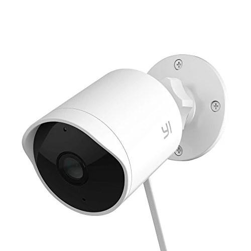 YI Caméra d'extérieur 1080p Caméra de Sécurité/Surveillance Extérieure Imperméable avec Vision Nocturne Commande Vocale Service Cloud Disponible – Blanche