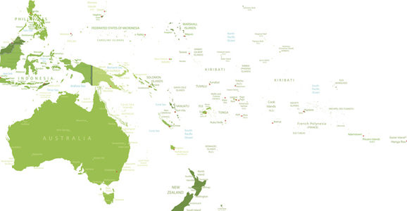 High detailed Oceania map.