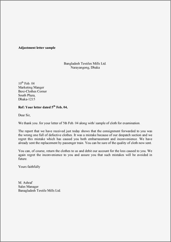 Adjustment Letter Sample Example Template And Format