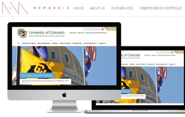 Newmedia displays its redesign of the University of Colorado homepage.