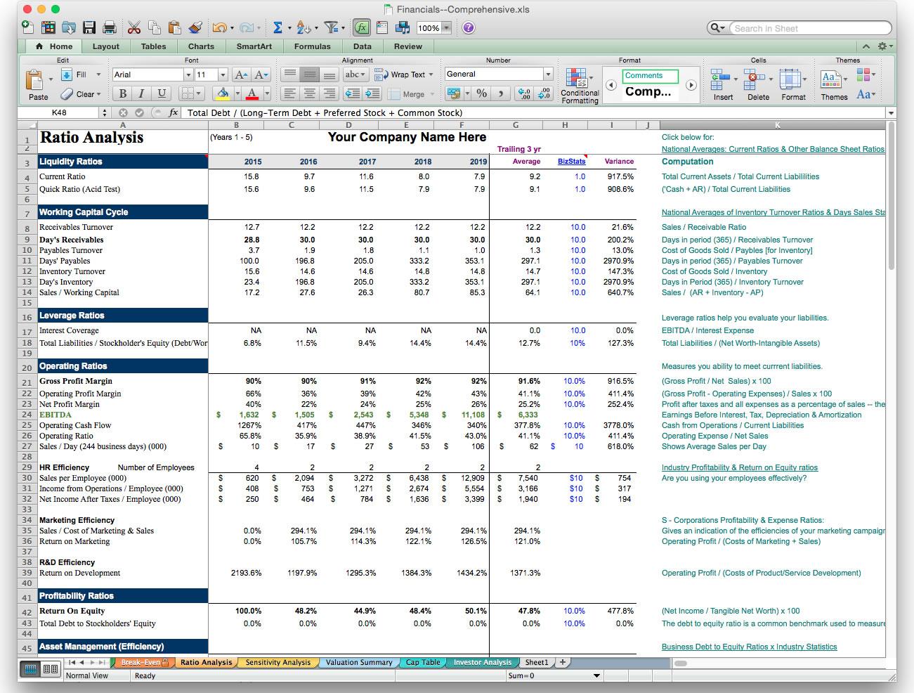 Financial ratios worksheet excel