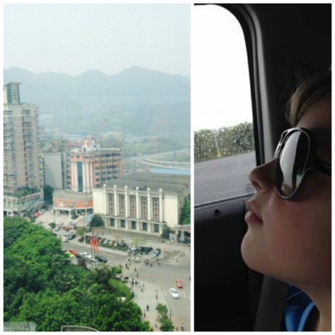 Friday, April 17. noon & 5pm. The view from a Chongqing research hospital. / Waiting for Grandma and Grandpa.