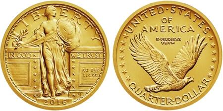 the Standing Liberty Quarter centennial gold coins