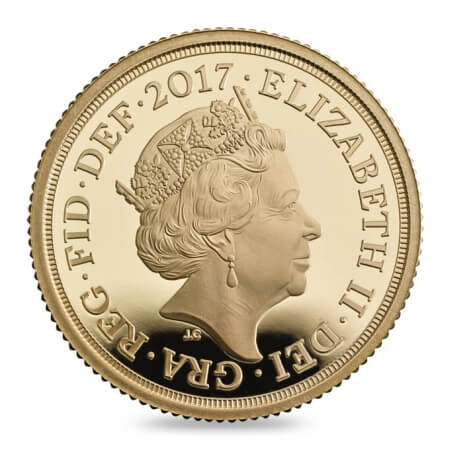 obverse side of the proof 2017 Gold Sovereign's 200th anniversary edition