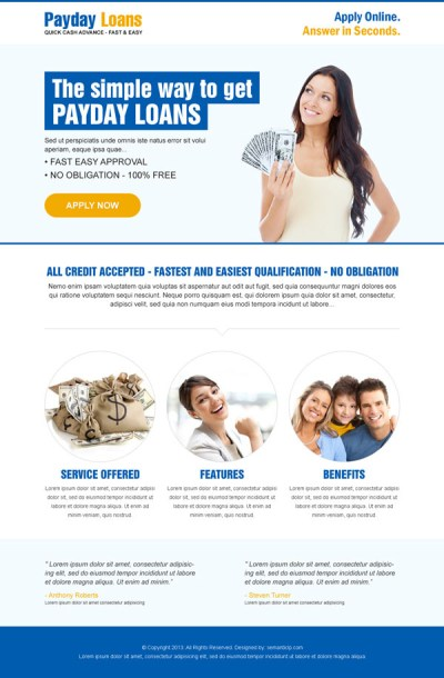 Best landing page design example for conversion, sale in 2014