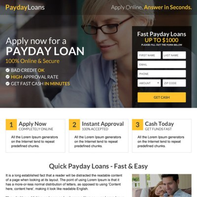 Payday loan lead capture landing page design templates
