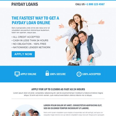 clean payday loan flat responsive landing page design